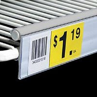 """1 1/4"""" x 6"""" Clear Double Wire Freezer Shelving Label Holder (pkg of 25)"""