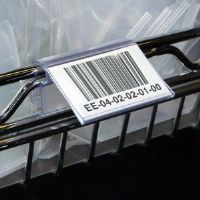 "1-1/4"" x 3"" Angled Wire Basket Label Holders - Clear Only - (pkg of 25)"